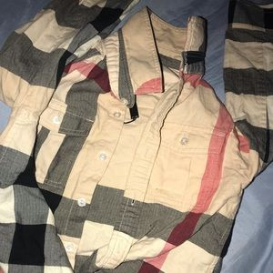 Burberry button down plaid top!